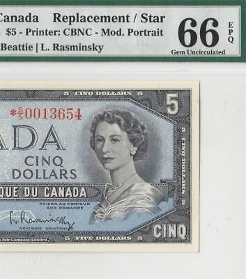 1954 BANK OF CANADA QEII $5 **STAR NOTE**