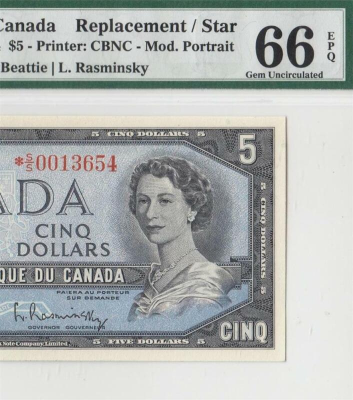 "1954 BANK OF CANADA QEII $5 **STAR NOTE** ""S/S"" (( PMG 66 EPQ ))"