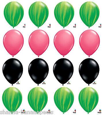 16ct.  WATERMELON PARTY!! Green Swirls Pink Black 11