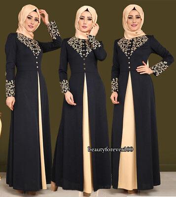 Muslim Islamic Women Ramadan Dress Printed Robe Dubai Jilbab Abaya Maxi Kaftan