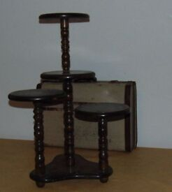 victorian style dark oak plant stand / cake stand on bobbin legs four tier
