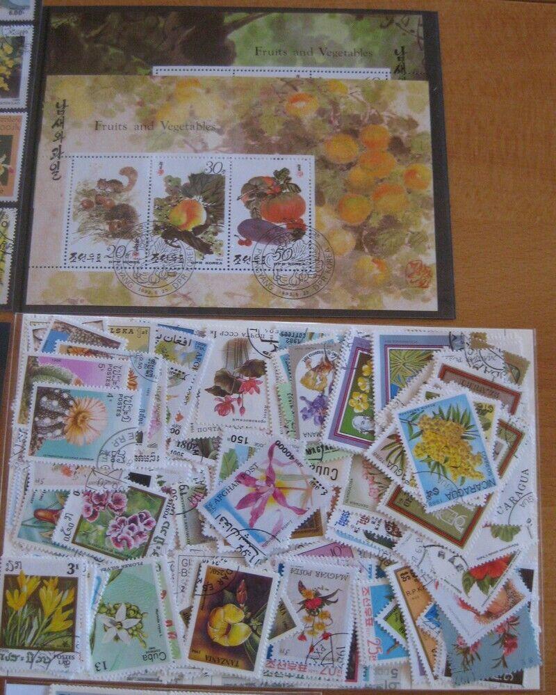 400  Briefmarken Blumen , Pflanzen , Früchte mit Blocks mit kompletten Ausgaben