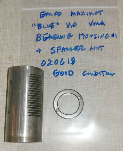 """Emco Maximat V10 """"BLUE"""" Vertical Milling Parts: Quill Bearing Housing #1 020618"""