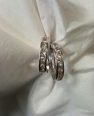 14k white gold clear synthetic hoop loop earrings