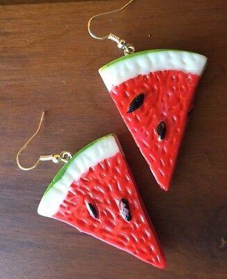 Novedad Agua melon Pendientes Fruta Disfraz Lucite Vintage Carmen Miranda 50s