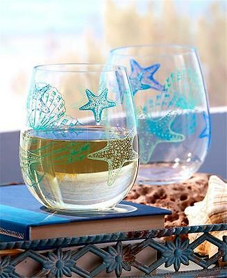 SET OF 2 DURABLE ACRYLIC BEACH SEASHELL THEMED STEMLESS WINE GLASSES 16 OZ. - Acrylic Wine Glasses