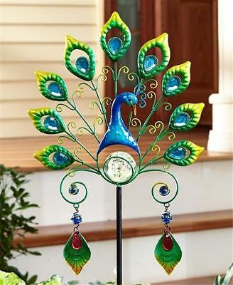 GLOW IN THE DARK PEACOCK DESIGN METAL ORNAMENT AND GLASS GARDEN STAKE YARD ART