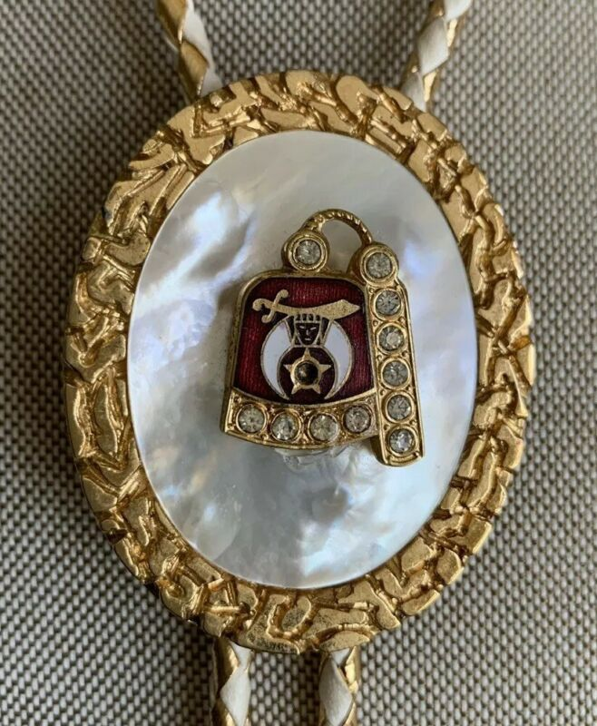 Vintage Masonic Shriner Bolo Tie Gold Tone Enamel Rhinestones & Mother-of-Pearl