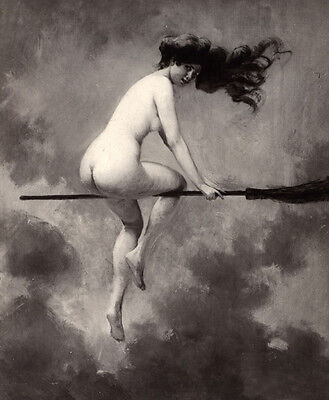 Nude Naked Witch on Broom Happy Halloween Blessed Samhain to You All Painting](Naked On Halloween)