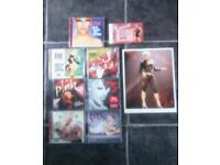 Pink albums x 7 plus copied signed photo and used concert ticket from funhouse tour