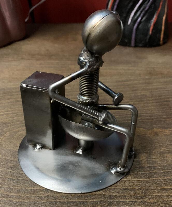 Man On Toilet Welded Metal Sculpture Modern Art Steampunk