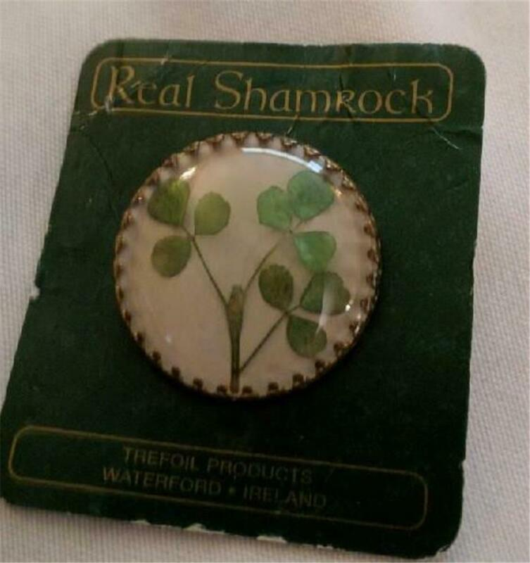 Vintage Real Irish Shamrock Brooch Pin St Patrick