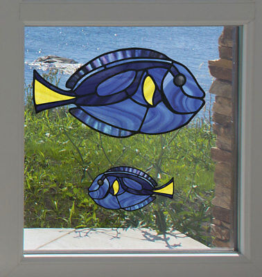 Tropical Fish Stained Glass (CLR:WND - Tropical Fish - Blue Tang Stained Glass Style Vinyl Window Decal ©YYDC)
