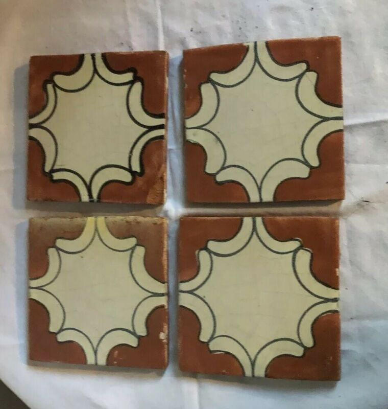 """4 - Vintage Antique Mexican Hand Painted Glazed  Talavera Pottery Tiles 4"""" - (C)"""