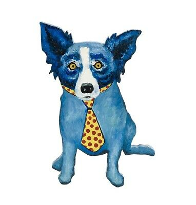 Off The Wall Blue Dog Original on Sculpture Paint Signed by George Rodrigue ()