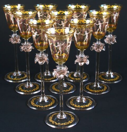 "10 Vintage Venetian Hand-Painted ""Dancing Ladies"" Cordial Glasses"