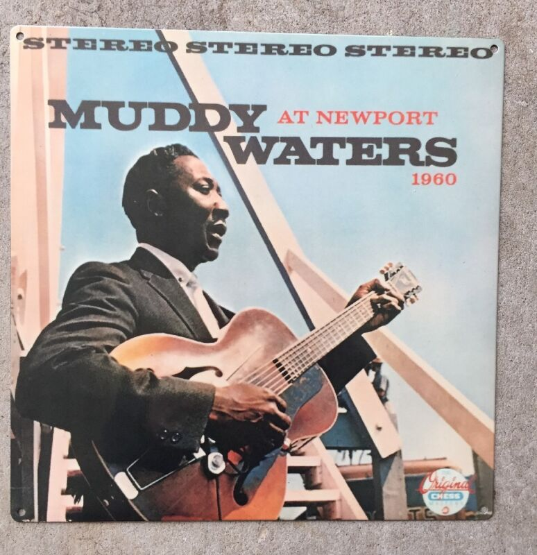 Muddy Waters Live at Newport Folk Festival LP Blues Vintage Poster Metal Sign