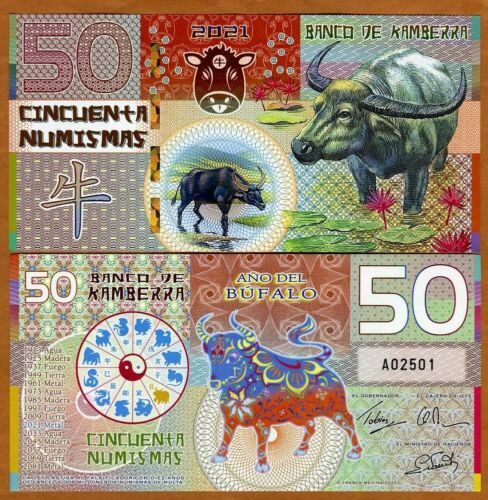 Kamberra, 50 Numismas, Polymer, China Lunar Year 2021, UNC, Ox (Bull)