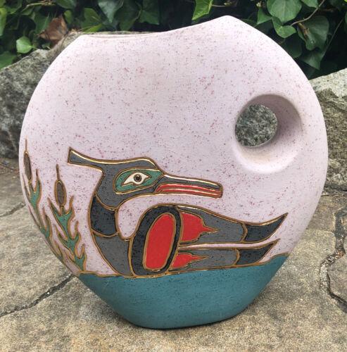 Northwest Coast Ceramic Art Vase Loon Image signed Ruby Joseph Canada Aboriginal