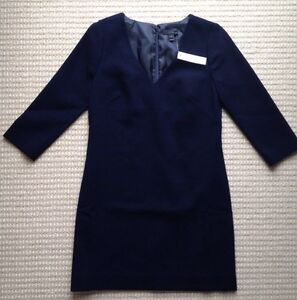 NWT JCrew Wool Crepe V Neck Dress Navy Blue sz. 2