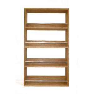Solid oak spice rack 4 shelves kitchen worktop wall mounted wooden jar storage ebay - Wall mounted spice racks for kitchen ...