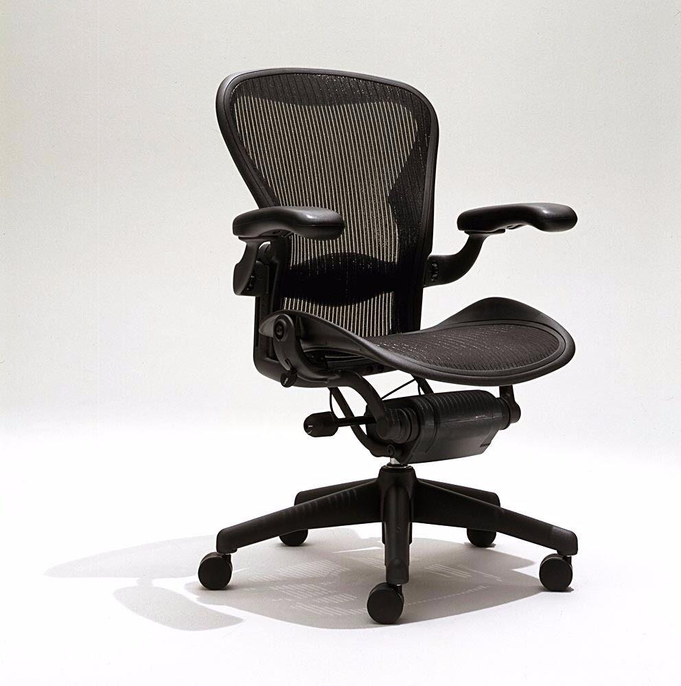 Lovely Herman Miller Aeron Tilt Limiter Chair Adj Leather Arms Graphite Frame