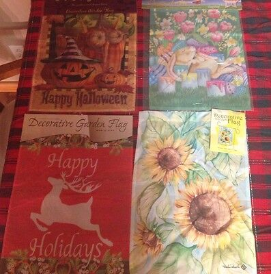 Lot Of 20 GARDEN WHOLESALE FLAGS Spring Summer Fall Winter And Holidays Look