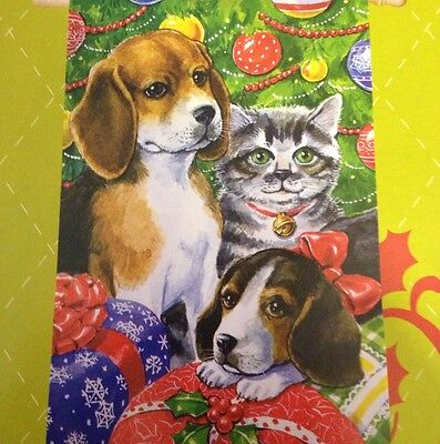 29x43 Merry Christmas Dog And Cat Stockings BEAGLE Dogs    FLAG