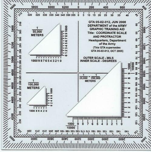 Coordinate Scale and Protractor for Map Reading, GTA 05-02-12