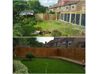 Gardener and garden design (decking)