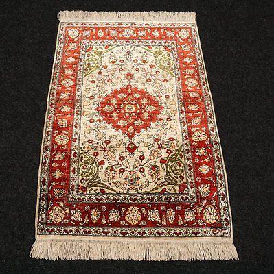 Seidenteppich Hereke Seide 75 x 50 cm Türkischer Orient Teppich Turkish Silk Rug