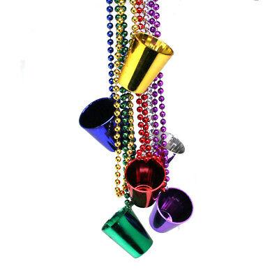Metallic Mardi Gras Shot Glass Bead Necklaces