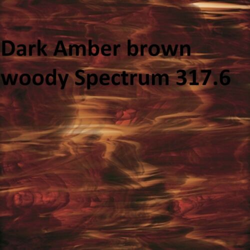 (2 pack) 6 x 8 inch Stained Glass Sheets - Dark Amber brown woody Spectrum 317.6