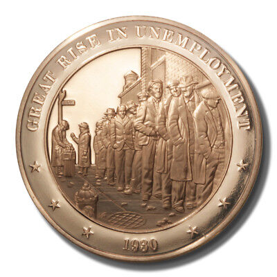 Franklin Mint History Of Us Unemployments Dramatic Rise 1930 45Mm Proof Bronze