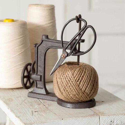 "Sewing Machine Twine Holder w/Scissors Cast Iron 7""H Jute Twine Dispenser Craft"