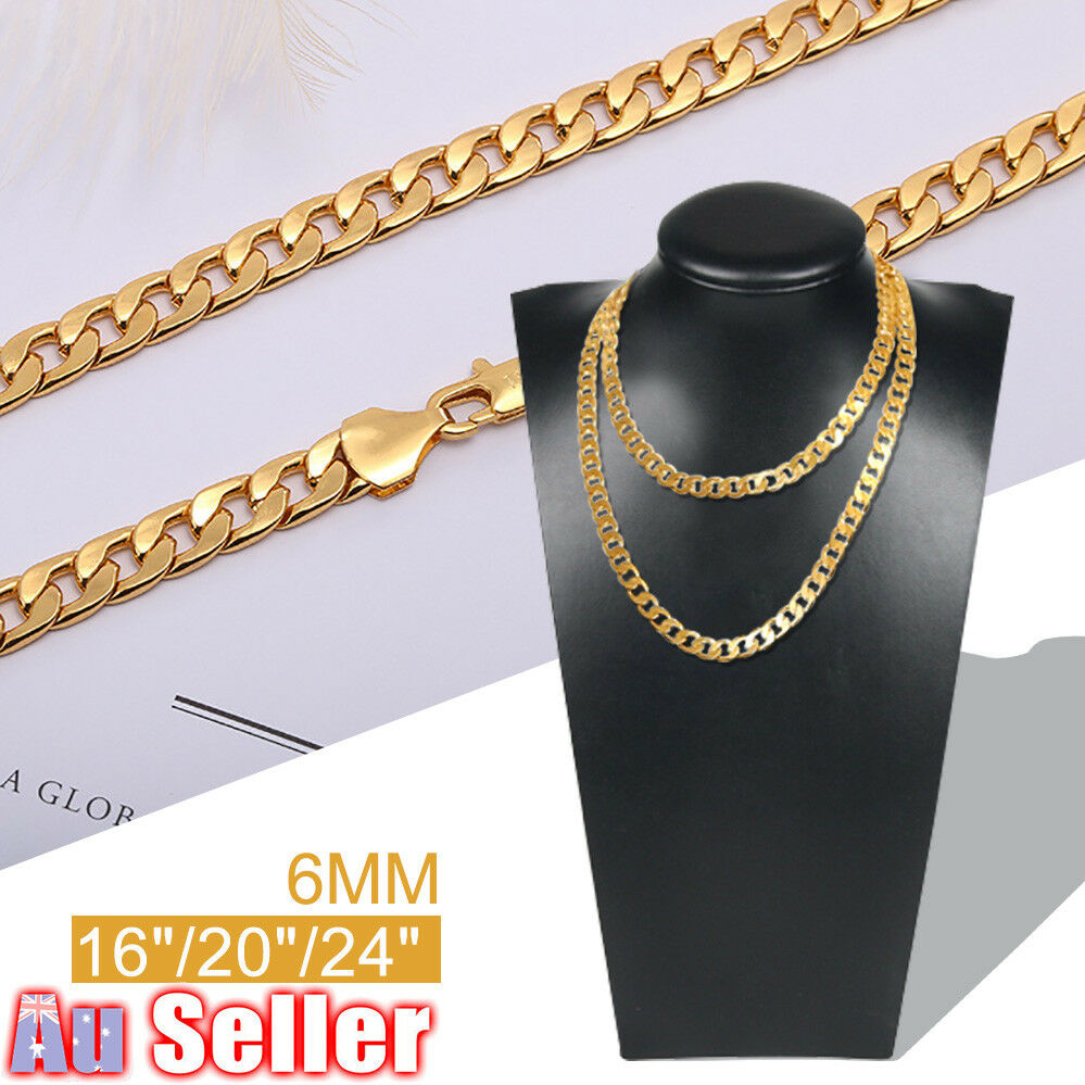 Stainless Steel Gold Plated figaro Link Chain Necklace 6mm 24/'/' Men women Gift