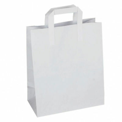 Paper Carrier Bags (250) Small White SOS Flat Handle Takeaway Paper Carrier Bag