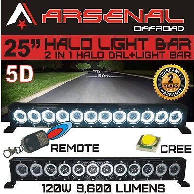 """25"""" 5D HALO LED Light Bar by Arsenal Offroad HALO DRL / Super Spot-CREE 10W LED"""