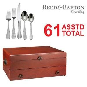 NEW 61PC ASSTD FLATWARE WITH CHEST 206688295 BY REED  BARTON 12 SETS OF 5PC PLACE SETTINGS AND CHEST