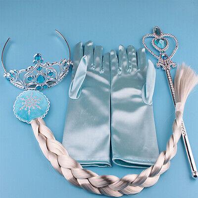 Frozen Kid Gift Princess Piece Elsa Anna Tiara Hair Crown Gloves Wig Wand Braid