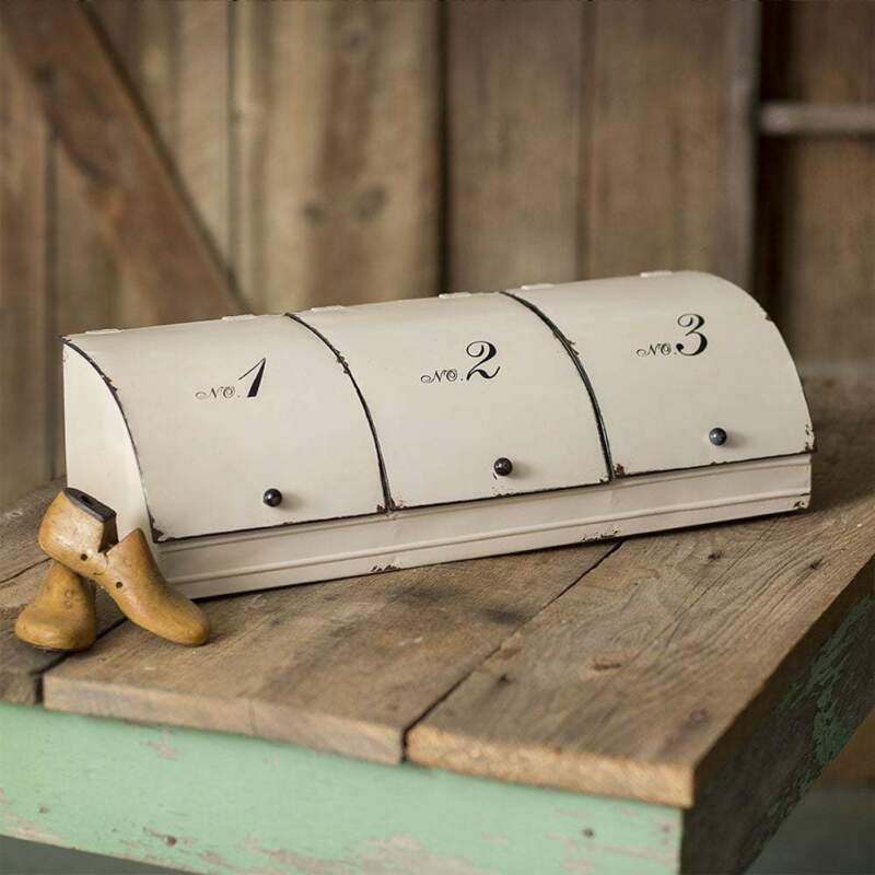 Three Door Divided Storage Bin Bread Box
