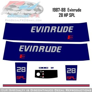 1987-88-Evinrude-28HP-SPL-Decals-Outboard-Reproduction-8Piece-Marine-Vinyl-1988