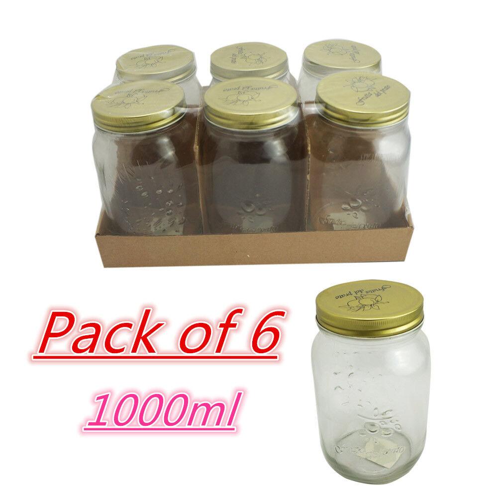glass jars bottles spice metal lids candy mason preserving storage kitchen bulk ebay. Black Bedroom Furniture Sets. Home Design Ideas
