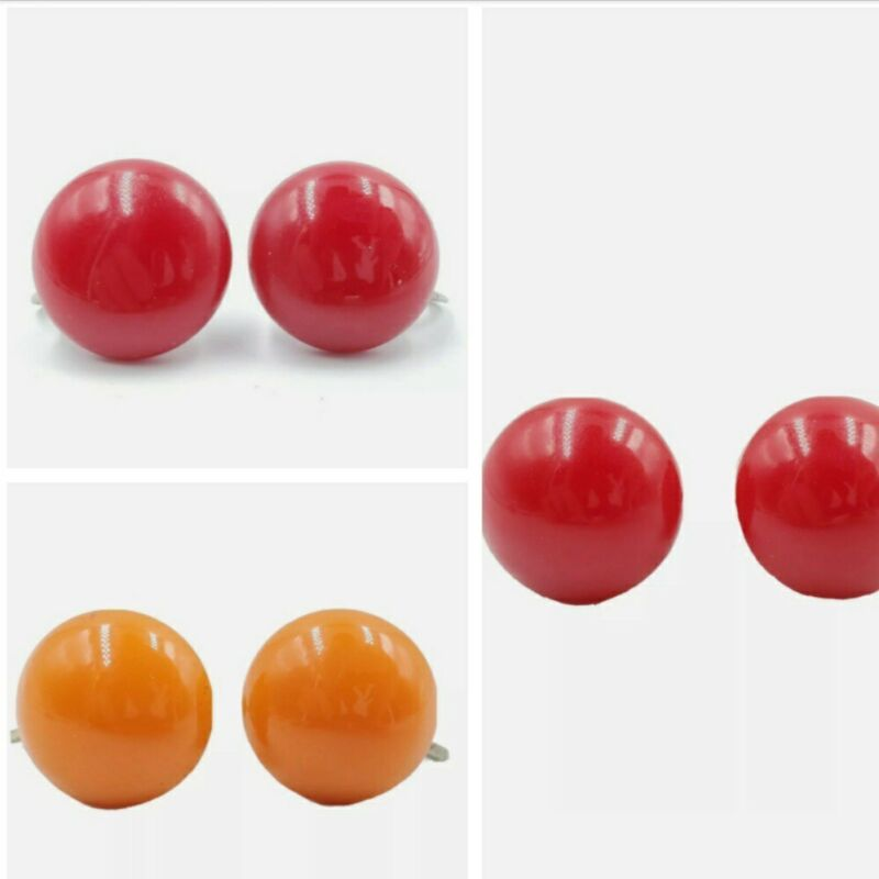 Vintage Bakelite Screw Back Earrings LOT 3 Pair Cherry Red Butterscotch