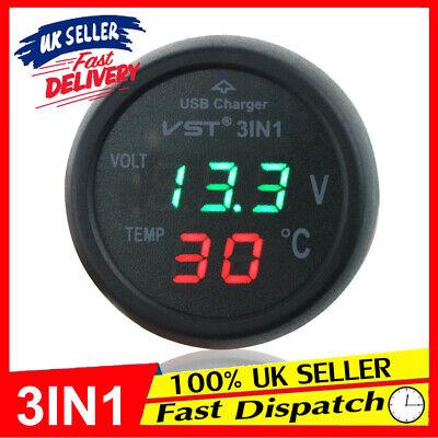12V USB Charger Digital Car Cigarette Lighter Power Socket Voltmeter Thermometer