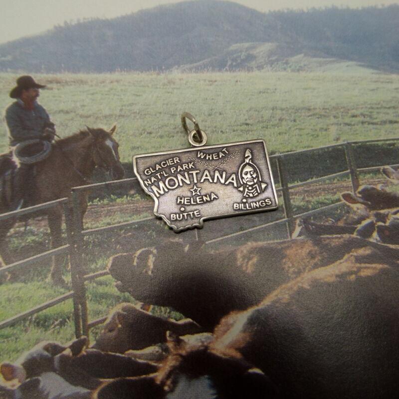 Montana State Souvenir Charm Sterling Silver Wheat Helena Butte Billings 2.2 gr