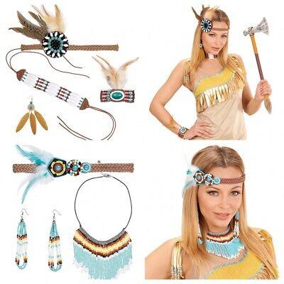Stirnband Armband Ohrringe Halsschmuck Federn Perlen Zubehör Indianerin-Kostüm (Indianer Kostüm Schmuck Ohrringe)