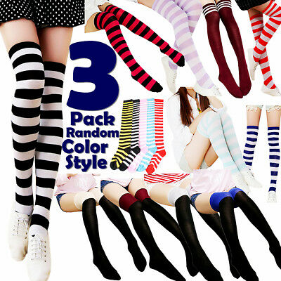 3 Women Striped Thigh High Socks Sheer Over The Knee Cotton Knit Stockings Soft - Striped Thigh High Socks