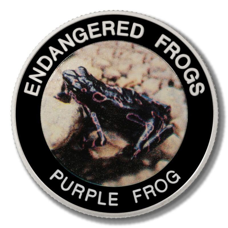 Malawi Endangered Frogs Purple Frog 10 Kwacha 2010  Proof Colored Coin