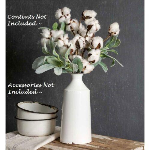 """NEW Farmhouse White Enamel MILK BOTTLE VTG Look Cottage Chic Vase Shabby 9.5"""" T"""
